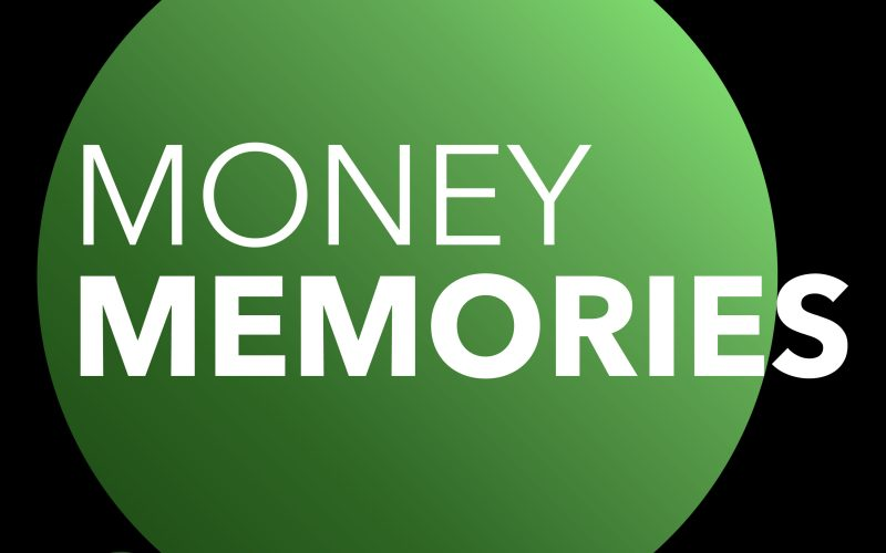 Green and black money memories thought bubble