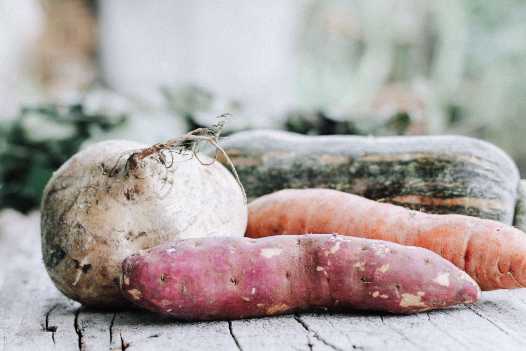 Assortment of seasonal vegetables including squash, turnips, and radishes to consider when cooking from home